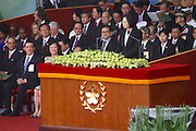 Taiwan president Tsai Ing-wen addresses the audience as part of the Republic of China (Taiwan) National Day celebration on October 10, in front of the Presidential Palace in Taipei.<br />