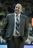 December 17, 2011: Drake Bulldogs head coach Mark Phelps is not pleased with a call during the the NCAA basketball game between the Drake Bulldogs and the Iowa Hawkeyes at Carver-Hawkeye Arena in Iowa City, Iowa on Saturday, December 17, 2011. Iowa defeated Drake 82-68.