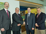 Roland O'Connell, Director at Savills,  Jeff Smith from Galway hands over to Paul Johnston, Davis Langdon, and John Curtin, President CIMA at the AGM of the Western Region of the SCSI. Photo:Andrew Downes Photography.