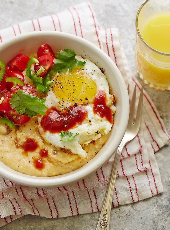 Creamy Grits and Mexican Casserole With Egg on Top