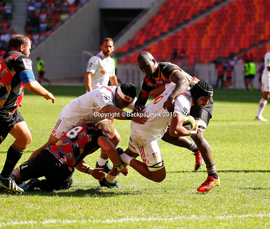 Taleni Seu of the Chiefs drives the ball forward during the 2016 Vodacom Super Rugby game between the Southern Kings and the Chiefs at Nelson Mandela Bay Stadium, Port Elizabeth on 12 March 2016 ©Michael Sheehan/BackpagePix