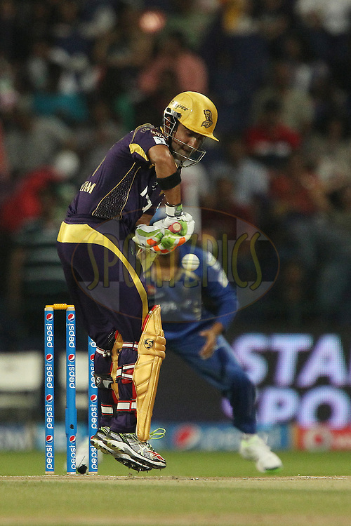 Gautam Gambhir captain of the Kolkata Knight Riders during match 19 of the Pepsi Indian Premier League 2014 Season between The Kolkata Knight Riders and the Rajasthan Royals held at the Sheikh Zayed Stadium, Abu Dhabi, United Arab Emirates on the 29th April 2014<br /> <br /> Photo by Ron Gaunt / IPL / SPORTZPICS