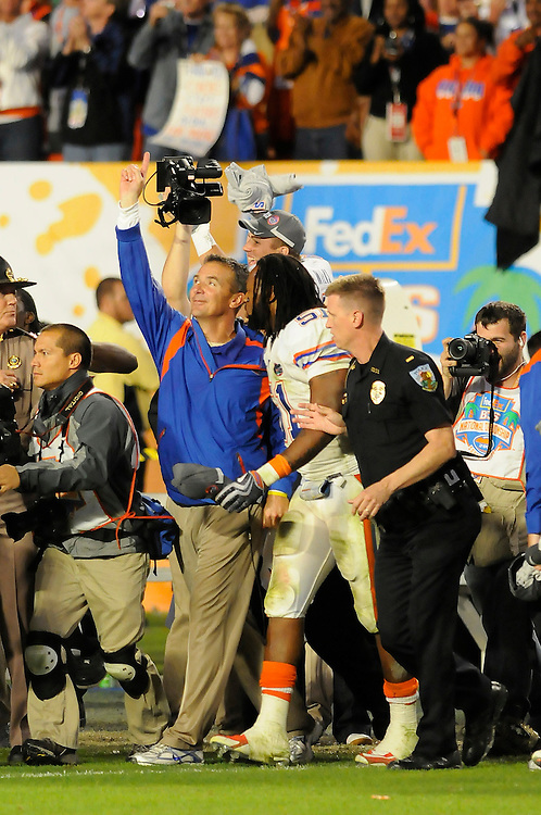 January 8, 2009: Head coach Urban Meyer of the Florida Gators in action during the NCAA football game between the Florida Gators and the Oklahoma Sooners in the 2009 BCS National Championship Game. The Gators defeated the Sooners 24-14.