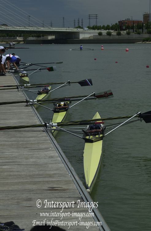 Peter Spurrier Sports  Photo.email pictures@rowingpics.com.Tel 44 (0) 7973 819 551.Tel/Fax 44 (0) 1784 440 772..Neatly parked 20010515 FISA World Cup, Seville, SPAIN
