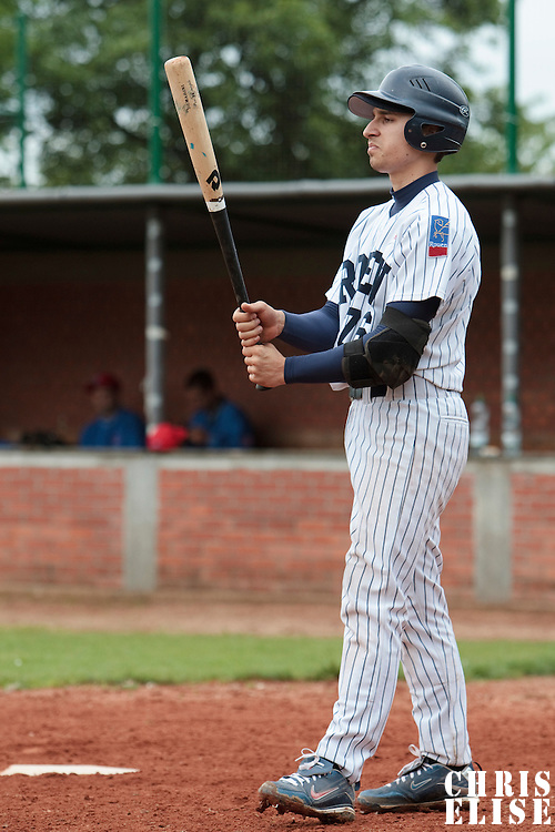 03 June 2010: Mathieu Brau of Rouen is seen at bat during the 2010 Baseball European Cup match won  8-4 by C.B. Sant Boi over the Rouen Huskies, at the Kravi Hora ballpark, in Brno, Czech Republic.