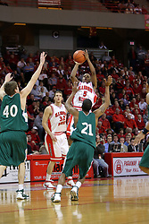 "24 February 2008: Keith ""Boo"" Richardson takes a leaner over Todd Brown In an ESPN Bracket Buster game, the Wright State Raiders were defeated 54-46 by the Illinois State University Redbirds on Doug Collins Court inside Redbird Arena in Normal Illinois."