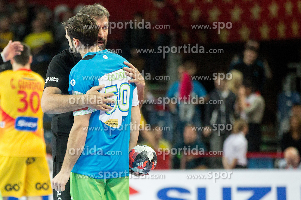 Veselin Vujovic, head coach of Slovenia and Dragan Gajic of Slovenia during handball match between National teams of Slovenia and Spain on Day 4 in Preliminary Round of Men's EHF EURO 2016, on January 18, 2016 in Centennial Hall, Wroclaw, Poland. Photo by Vid Ponikvar / Sportida