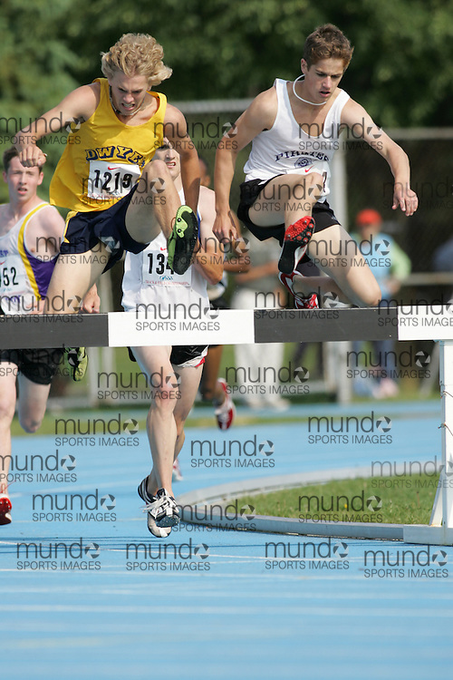 Matthew Hughes competing in the 3000m steeple chase at the 2007 OFSAA Ontario High School Track and Field Championships in Ottawa.