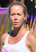 "Kendra Wilkinson with make-up eating a soft ice cream<br /> <br /> Model Kendra Wilkinson visits the "" Malibu Carnival "" without any make-up. Hollywood, Los Angeles, California, 06.09.2015<br /> ©Exclusivepix Media"