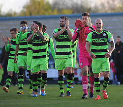 Forest Green Rovers's team applaud fans before kick off- Photo mandatory by-line: Nizaam Jones/JMP - Mobile: 07966 386802 - 29/04/2015 - SPORT - Football - Nailsworth - The New Lawn - Forest Green Rovers v Bristol Rovers - Vanarama Football Conference