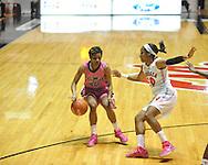 "Ole Miss' Amber Singletary (20) vs. Georgia's Jasmine James (10) in women's basketball at the C.M. ""Tad"" Smith Coliseum in Oxford, Miss. on Sunday, February 24, 2013. Georgia won 73-54."