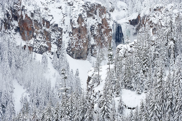 waterfall in winter near White Pass in the Cascade Range - Wenatchee National Forest, Washington, USA