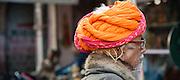 Old Rajasthani man with orange turban (India)