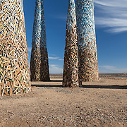 Subterrafuge spire bases at AfrikaBurn 2014, Tankwa Karoo desert, South Africa. The art installation is a comment against fracking in the Karoo desert.