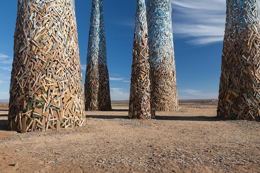 Subterrafuge spire bases at AfrikaBurn 2014, Tankwa Karoo desert, South Africa. The art installation is a comment against fracking in the Karoo desert.