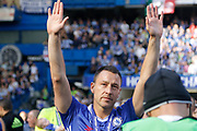 Chelsea Defender John Terry (26) thanks Roman Abramovic during the Premier League match between Chelsea and Sunderland at Stamford Bridge, London, England on 21 May 2017. Photo by Andy Walter.