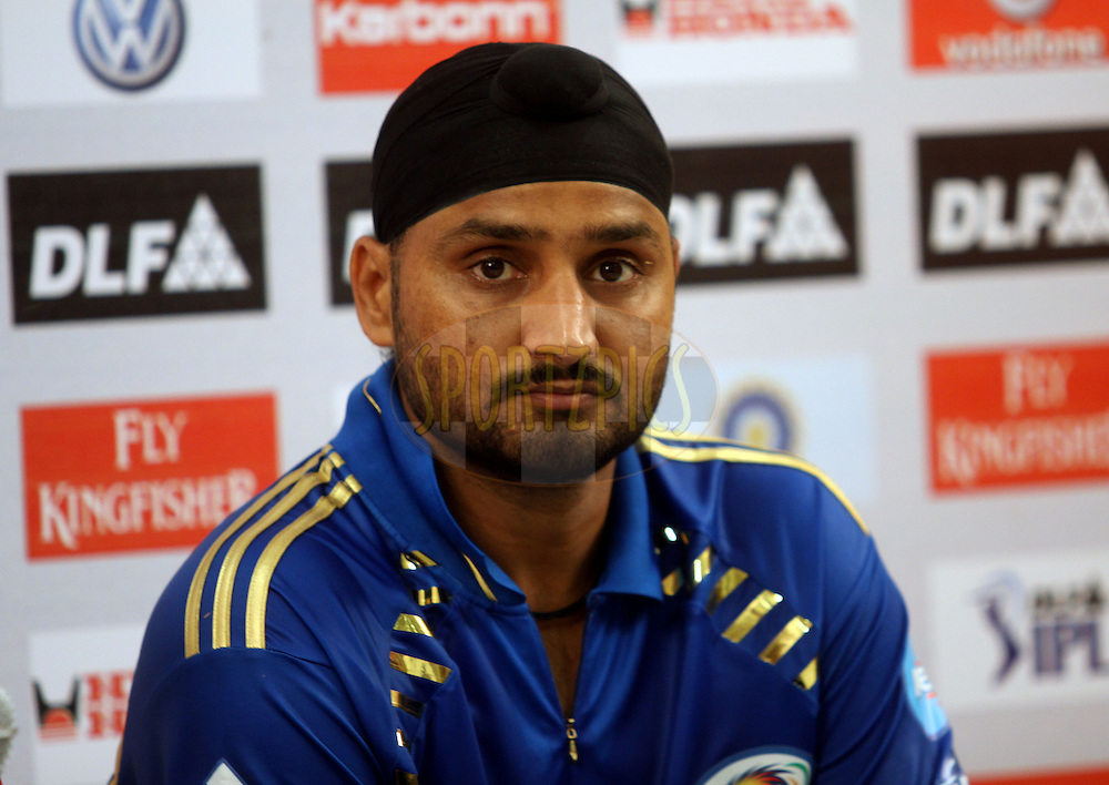 Harbhajjan Singh during the Press confrenceof match 25 of the the Indian Premier League ( IPL ) Season 4 between the Mumbai Indians and the Chennai Superkings held at the Wankhede Stadium, Mumbai, India on the 22nd April 2011..Photo by Sandeep Shetty/BCCI/SPORTZPICS.