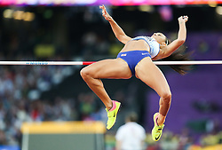 London, August 10 2017 . Katarina Johnson-Thompson, Great Britain, in the Women's high jump qualifying on day seven of the IAAF London 2017 world Championships at the London Stadium. © Paul Davey.