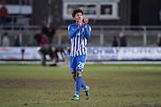 Josh Laurent of Hartlepool United applauds the travelling fans after the EFL Sky Bet League 2 match between Newport County and Hartlepool United at Rodney Parade, Newport, Wales on 28 January 2017. Photo by Andrew Lewis.