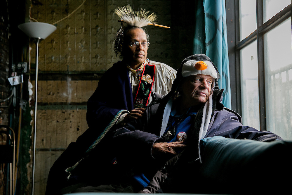 NEW YORK, NY - DECEMBER 30, 2016: Anthony Jay Van Dunk, a former chief of the Lenape tribe and Jean-Louis Bourgeois pose for a portrait inside the building at 6 Weehawken Street, a property that Bourgeois is donating to Van Dunk, in New York, New York. CREDIT: Sam Hodgson for The New York Times.
