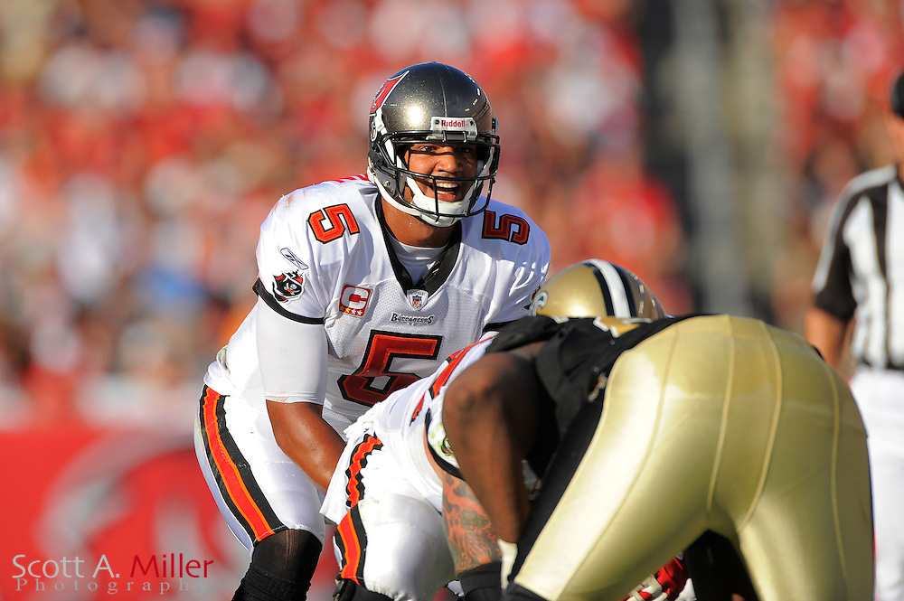 Tampa Bay Buccaneers quarterback Josh Freeman (5) in action during the Bucs game against the New Orleans Saints at Raymond James Stadium on Oct. 16, 2011 in Tampa, Fla...©2011 Scott A. Miller