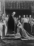 The Queen (Victoria of Great Britain) receiving the sacrament at her coronation from a painting by Charles Robert Leslie, R.A. 1794-1859, c1897.