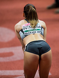 Third placed Pamela Dutkiewicz  of Germany waiting for result after she competed in the 60m Hurdles Women Final on day one of the 2017 European Athletics Indoor Championships at the Kombank Arena on March 3, 2017 in Belgrade, Serbia. Photo by Vid Ponikvar / Sportida