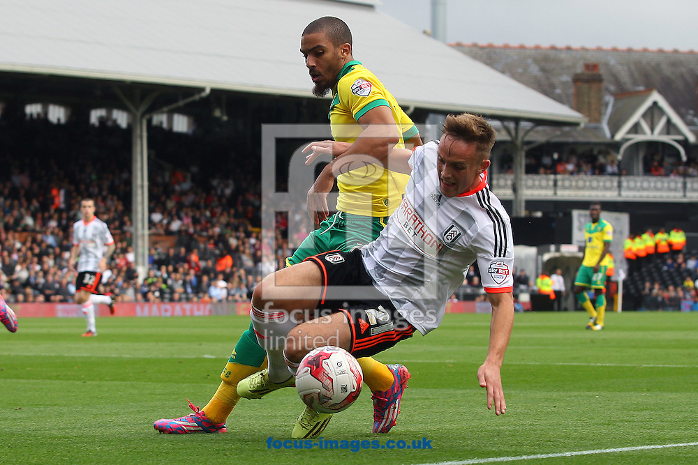 Lewis Grabban of Norwich and Lasse Vigen Christensen of Fulham in action during the Sky Bet Championship match at Craven Cottage, London<br /> Picture by Paul Chesterton/Focus Images Ltd +44 7904 640267<br /> 18/10/2014