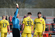 Ryan Rydel (35) receives a yellow card during the EFL Sky Bet League 1 match between Accrington Stanley and Fleetwood Town at the Fraser Eagle Stadium, Accrington, England on 30 March 2019.