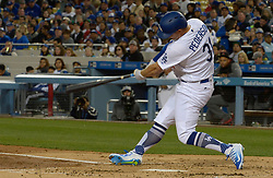 April 14, 2017 - Los Angeles, California, U.S. - Los Angeles Dodgers' Joc Pederson doubles against the Arizona Diamondbacks in the second inning of a Major League baseball game at Dodger Stadium on Friday, April 14, 2017 in Los Angeles. (Photo by Keith Birmingham, Pasadena Star-News/SCNG) (Credit Image: © San Gabriel Valley Tribune via ZUMA Wire)