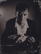 Daniel Jeanrenaud, rock and roll musician, wetplate, collodion, tintype, vintage, black and white, antique process, 1851,