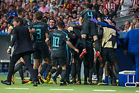 Chelsea's Marcos Alonso, Eden Hazard, Cesc Fabregas and coach Antonio Conte during UEFA Champions League match between Atletico de Madrid and Chelsea at Wanda Metropolitano in Madrid, Spain September 27, 2017. (ALTERPHOTOS/Borja B.Hojas)