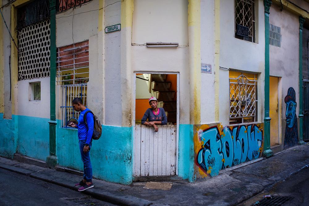 HAVANA, CUBA - CIRCA MARCH 2017: Street corner and people in the Havana