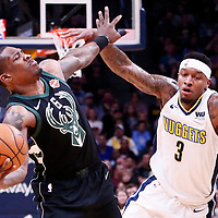 01 April 2018: Milwaukee Bucks guard Eric Bledsoe (6) is seen during the Denver Nuggets 128-125 victory over the Milwaukee Bucks, at the Pepsi Center, Denver, Colorado, USA.