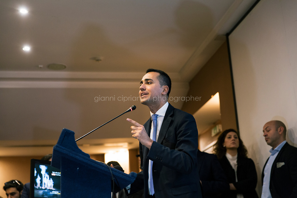 AVELLINO, ITALY - 11 FEBRUARY 2018: Luigi Di Maio (31), running for Prime Minister of Italy with the Five Stars Movement (M5S, Movimento 5 Stelle) gives a speech at a rally in Avellino, Italy, on  February 11th 2018.<br /> <br /> The 2018 Italian general election is due to be held on 4 March 2018 after the Italian Parliament was dissolved by President Sergio Mattarella on 28 December 2017.<br /> Voters will elect the 630 members of the Chamber of Deputies and the 315 elective members of the Senate of the Republic for the 18th legislature of the Republic of Italy, since 1948.