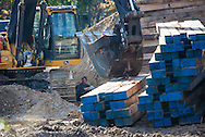 October 15th Winnsboro Texas, An envirnemntal activist in the Tar Sands Blockade locks himself to a ground moving machine stopping work on the Keystone pipeline. The Tar Sands Blockade hold their largest direct action protest to date, shutting down construction on one of  TransCanada's Keystone Pipeline worksites. Two of the protesters attach them self to machinery on the work site during their direct action.