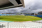 A general image of Emerald Headingley with threatening clouds overhead ahead of the opening day of the Specsavers County Champ Div 1 match between Yorkshire County Cricket Club and Hampshire County Cricket Club at Headingley Stadium, Headingley, United Kingdom on 27 May 2019.