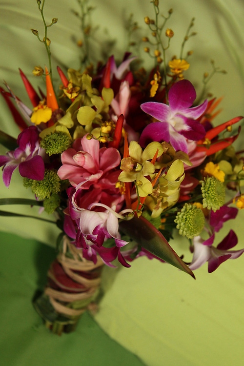 Purple orchid, green orchid, yellow orchid, bird of paradise wedding ...
