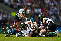 Rhodri Williams of Barbarians passes the ball out of a ruck - Mandatory by-line: Ryan Hiscott/JMP - 27/05/2018 - RUGBY - Twickenham Stadium - London, England - England v Barbarians - Quilter Cup