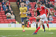 Conor Hourihane (Barnsley) takes a shot during the Sky Bet League 1 match between Barnsley and Scunthorpe United at Oakwell, Barnsley, England on 25 March 2016. Photo by Mark P Doherty.