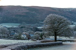 © Licensed to London News Pictures. 02/12/2019. Builth Wells, Powys, Wales, UK. The cold weather continues in Powys with temperatures falling to minus 5 degrees C this morning near Builth Wells in Powys, Wales, UK. Photo credit: Graham M. Lawrence/LNP