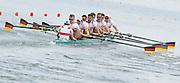 Poznan. Poland. Men's Eights: GER M8+. Crew: Bow: Maximillian MUNSKI, Malte JAKSCHIK, Maximillian REINELT, Eric JOHANNESEN, Anto BRAUN, Felix DRAHHOTTA, Richard SCHMIDT, Hannes OCIK and cox: Martin SAUER,, at the start of their heat at the FISA 2015 European Rowing Championships. Venue Lake Malta. 29.05.2015. [Mandatory Credit: Peter Spurrier/Intersport-images.com]