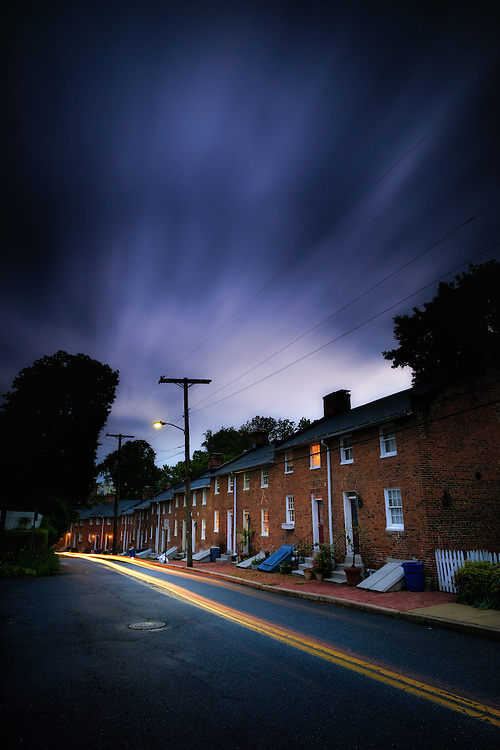 Long Brick Row in historic Oella, Maryland.