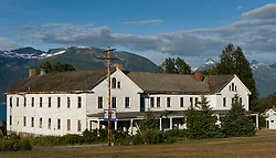 This building, one of the historic buildings of the former U.S. Army facility, Fort William H. Seward in Haines, Alaska was used as a barracks. A twin barracks building located next door was destroyed in a fire in 1981. Fort Seward, located on the Lynn Canal in southeast Alaska, was the last of a series of eleven military posts established during Alaska's gold rush between 1897 and 1904. It's purpose was to preserve law and order among gold prospectors and to provide a military presence in Alaska during boundary disputes with Canada.