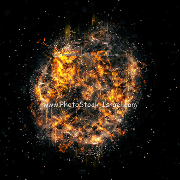 Digitally created Exploding supernova star or the creation of earth. In the beginning God created the heavens and the earth. Now the earth was formless and empty, darkness was over the surface of the deep, and the Spirit of God was hovering over the waters. (Genesis 1 1-5)