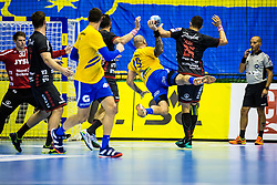 Anic Igor of RK Celje Pivovarna Lasko with Bergerud Torbjoern Sittrup of SG Flensburg-Handewitt during handball match between RK Celje Pivovarna Lasko (SLO) and SG Flensburg Handewitt (GER) in 3rd Round of EHF Men's Champions League 2018/19, on September 30, 2018 in Arena Zlatorog, Celje, Slovenia. Photo by Grega Valancic / Sportida