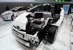 Cut away model of the new Toyota Prius hybrid saloon car at the Frankfurt Motor Show 2009
