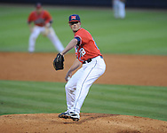 Ole Miss' Mike Mayers (28) pitches vs. Kentucky at Oxford-University Stadium in Oxford, Miss. on Friday, April 26, 2013. Ole Miss won 11-5.
