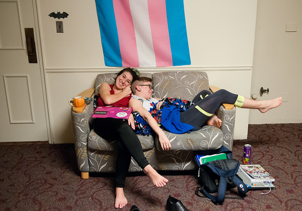 "Residents in the LGBT mod of Smith House, B Irwin (left) and Alex Petras(right), spend time together in their lounge on Thursday, October 20, 2016. Alex Petras, who identifies as a trans male and uses he/him pronouns, only considered attending schools with gender neutral housing options. ""Anywhere else on campus, I would have to live in the women's quarters,"" he said. ""Which I wasn't comfortable with."""