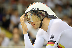 Germany's Domenic Weinstein on the track before taking the Gold Medal in the Mens Individual Pursuit during day four of the 2018 European Championships at the Sir Chris Hoy Velodrome, Glasgow.